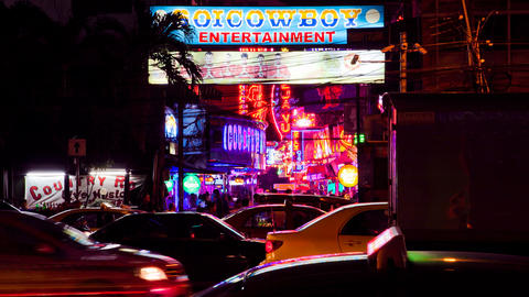 Timelapse - Soi Cowboy - Bangkok red light district Footage