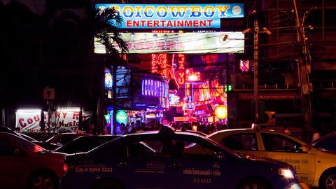 Timelapse - Soi Cowboy - Bangkok red light district Stock Video Footage