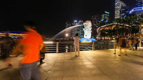 Timelapse - Singapore Merlion at night Footage