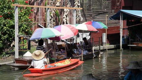 Thai Woman on Floating Market in Thailand Stock Video Footage