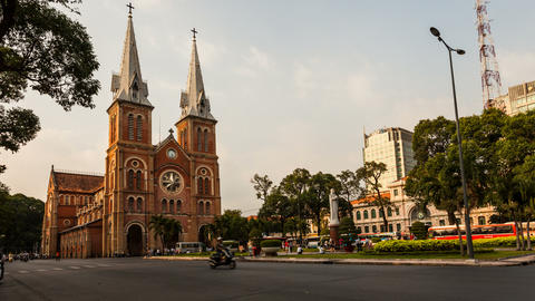 4K Timelapse of Saigon Notre-Dame Basilica - Cathedral Stock Video Footage