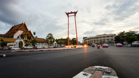 Timelapse - Bangkok Giant Swing at Sunset Stock Video Footage