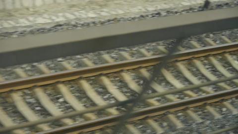 Speeding train travel,scenery outside... Stock Video Footage