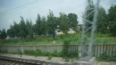Dense forest scenery outside window in rural countryside.Speeding train travel,t Footage