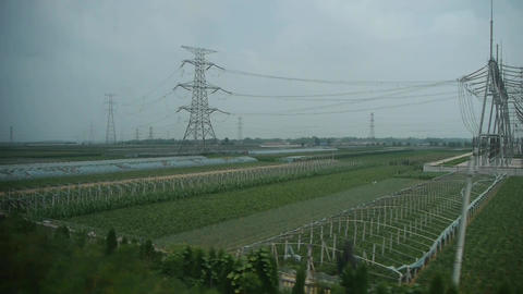 Villages plains tree crops farmland,power plants &... Stock Video Footage