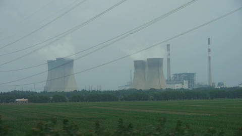 chemical plantss & factory chimney in rural... Stock Video Footage
