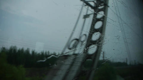 Rain hit glass in rainy season.Speeding train... Stock Video Footage