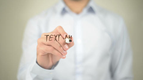 Text Messaging, man writing on transparent screen ライブ動画