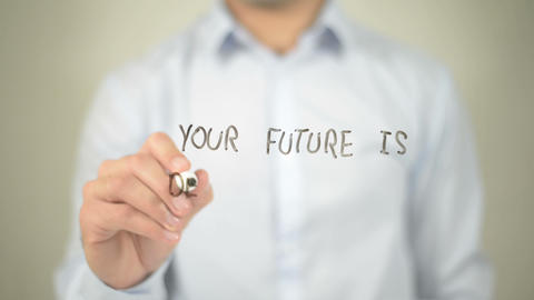 Your Future Is Defined By What You Do today, man writing on transparent screen Footage