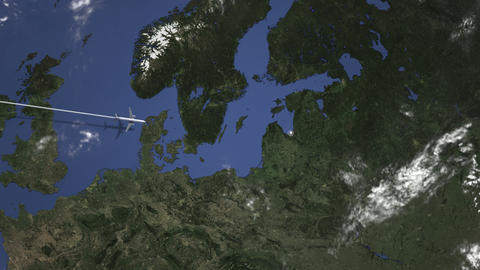 Commercial plane arrives to Riga, Latvia, intro 3D animation Live Action