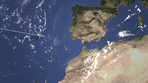 Route of a commercial plane flying to Malaga, Spain on the map. Intro 3D Live Action