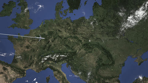 Plane arriving to Krakow, Poland from west, intro 3D animation Live Action