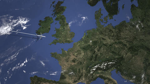 Commercial plane arrives to Dusseldorf, Germany, intro 3D animation Live Action