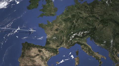 Route of a commercial plane flying to Bern, Switzerland on the map. Intro 3D Live Action