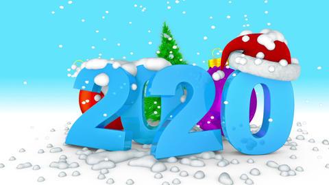 2020 and ball Christmas tree Animation