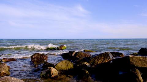 rocky shore of the Black Sea in the village of Iron Port, Ukraine Acción en vivo