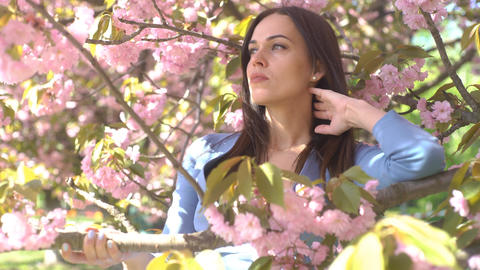 4K Beauty Young Woman Enjoying Nature In Spring Cherry Orchard.happy Beautiful Live Action