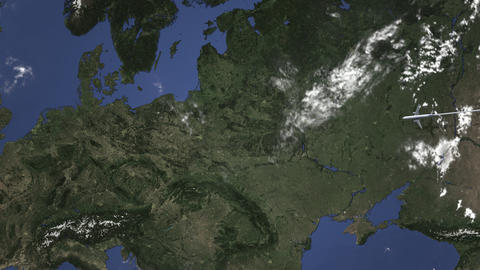 Commercial airplane flying to Poznan, Poland. Intro 3D animation Live Action