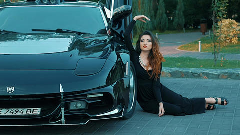 Slow Motion Slow Motion Girl Sitting Near The Black Car Live Action
