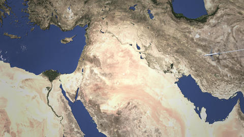 Route of a commercial plane flying to Jerusalem, Israel on the map. Intro 3D Live Action