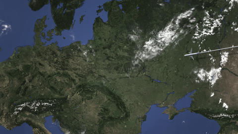 Commercial plane arrives to Lodz, Poland, intro 3D animation Live Action
