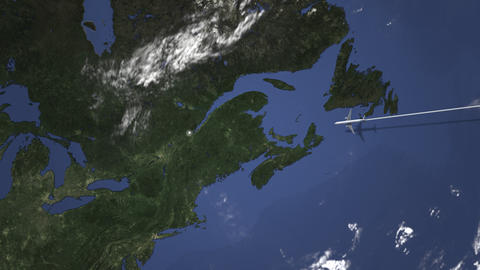 Route of a commercial plane flying to Quebec City, Canada on the map. Intro 3D Live Action