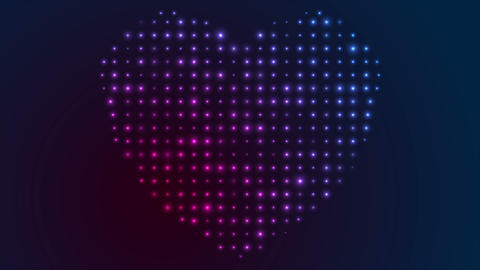 Glowing shiny blue violet heart shape video animation Animation
