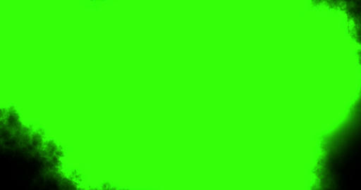 abstract paint brush stroke shape black ink splattering flowing and washing on chroma key green Footage