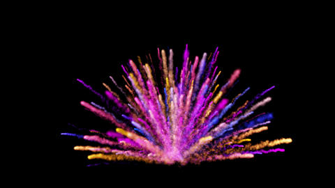 Abstract colorful dust explosion on black background Animation