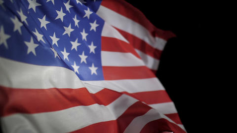 USA American flag waving on black background Footage