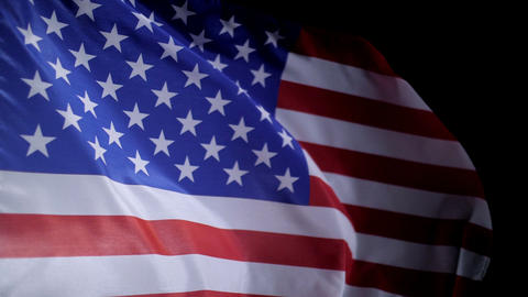 American flag blowing in the wind, slow motion GIF