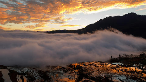 Amazing time lapse of the morning fog coming in at the terraced rice fields in Yuanyang China Footage