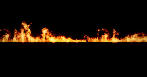 realistic fire flames burn with ash rise movement frame on black background, with Footage