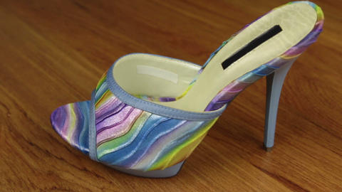 Slider shot. Stylish classic women's sandals shoes with high heels Footage