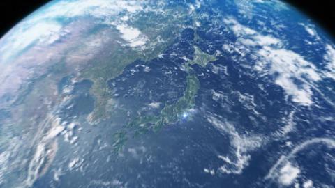 宇宙から日本へ東京へズーム CG動画