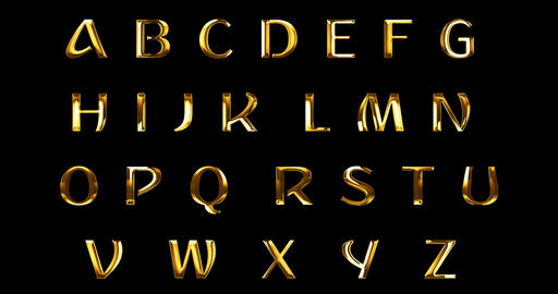 vintage yellow gold metallic alphabet letters word text series symbol sign on black background, Footage