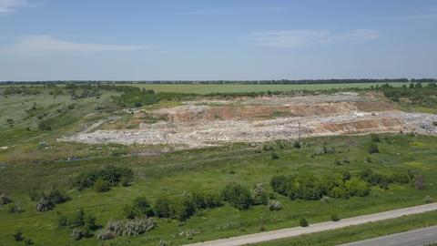 Aerial view, large garbage pile at sorting site. Garbage pile in trash dump Footage