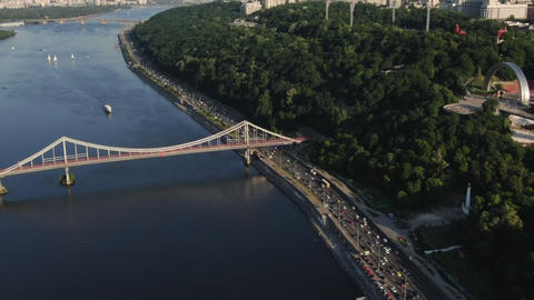 Kiev City Bridge Aerial With City Traffic at Sunset. Traffic Time Lapse Live Action