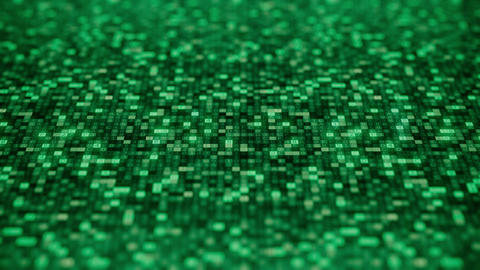Flashing hexadecimal symbols on a green computer screen compose ONLINE word Footage