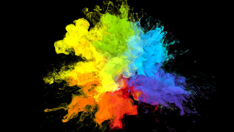 Color Burst iridescent multicolored rainbow powder explosion fluid ink particles Animation