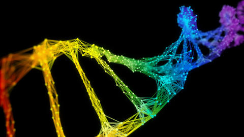 Isolated Iridescent rainbow Digital Plexus DNA molecule strand colorful Loop Animation