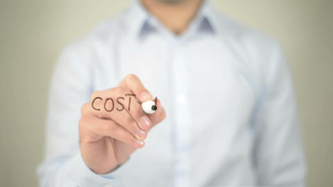 Cost Per Lead , man writing on transparent screen Footage