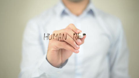 Human Resource Management , man writing on transparent wall Footage
