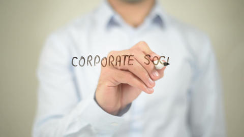 Corporate Social Responsibility , man writing on transparent wall Footage