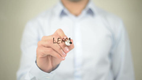 Learn And Lead , writing on transparent wall Footage