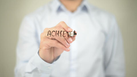 Achievement Motivation , writing on transparent wall Footage