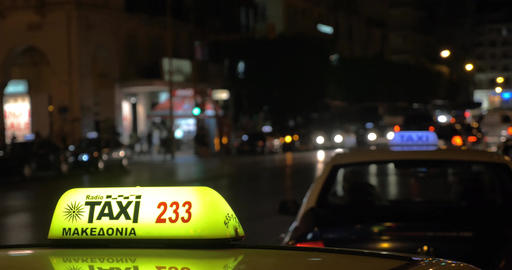 Taxi services in night city Footage