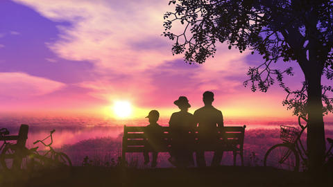 Family on a bench at sunset and a beautiful view of the river Animation