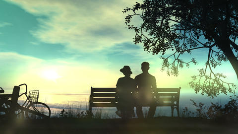 Couple on a bench watching the ocean Animation
