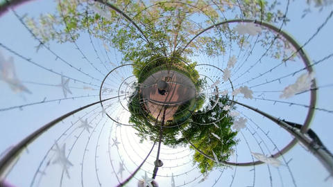 Little Planet View of Pathway in Ansan Hwarang Recreation Area 02 Live Action